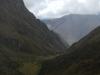 Het uitzicht wanneer ik terugkijk in het dal