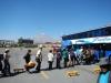 In de rij voor de bus naar Puno