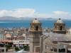 Uitzicht op het Titicacameer vanuit Puno